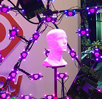 Pink and purple lights shining on a mannequin head.