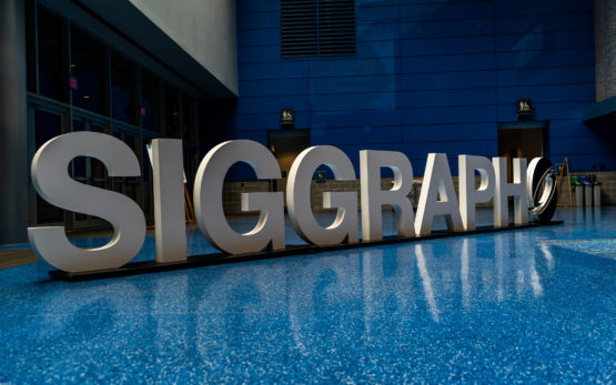 SIGGRAPH sign in the convention center hall.